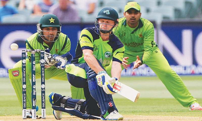 IRELAND captain William Porterfield plays a shot during his 107-run knock against Pakistan.—AP