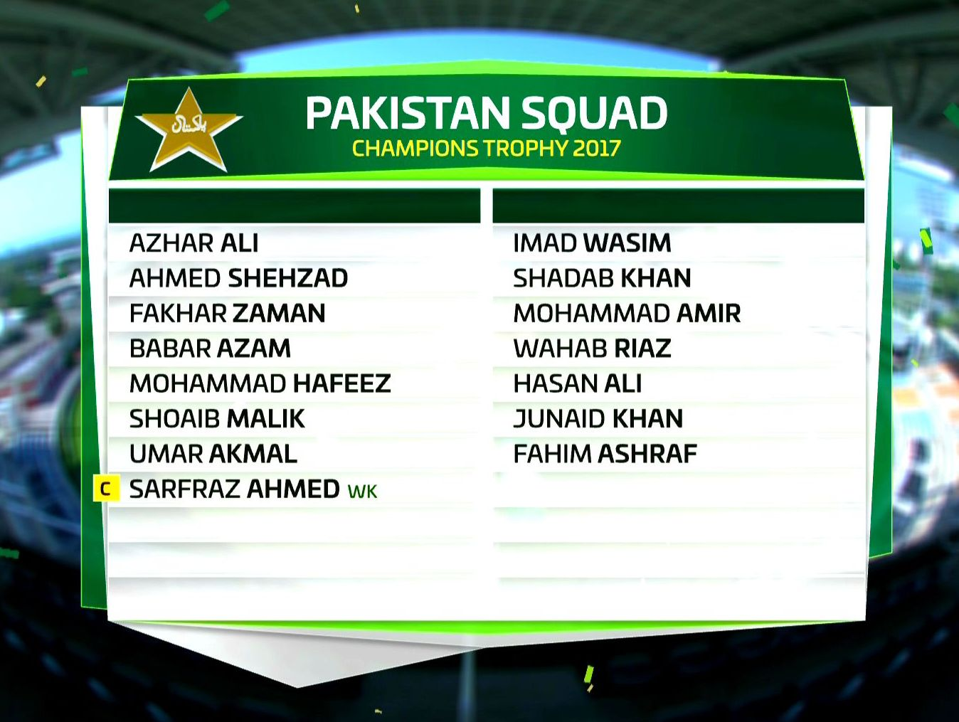 LAHORE Azhar Ali And Umar Akmal Make A Comeback Into Pakistans ODI Team As The Squad For ICC Champions Trophy Was Announced On Tuesday