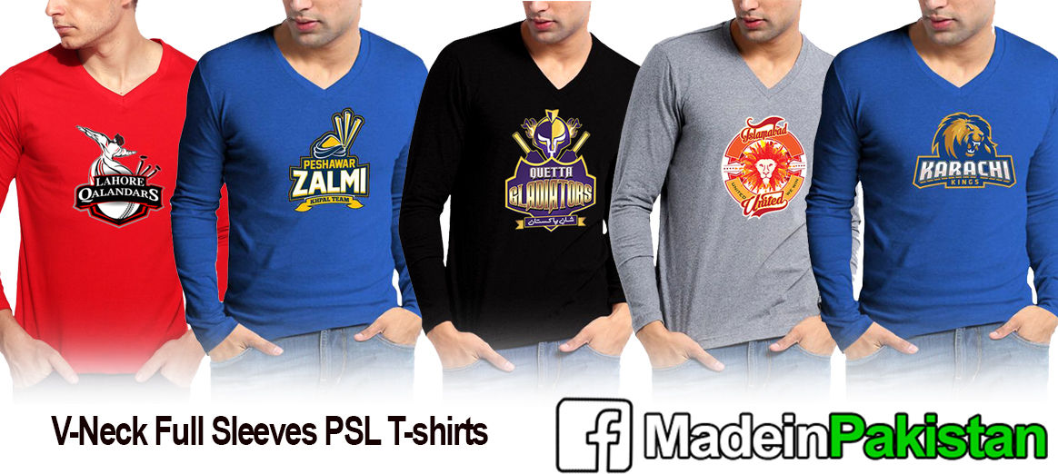 Pakistan Super League PSL T20 T-Shirts V-Neck Full Sleeves T-Shirt Karachi Kings Peshawar Zalmi Islamabad United Lahore Qalandars Quetta Gladiators