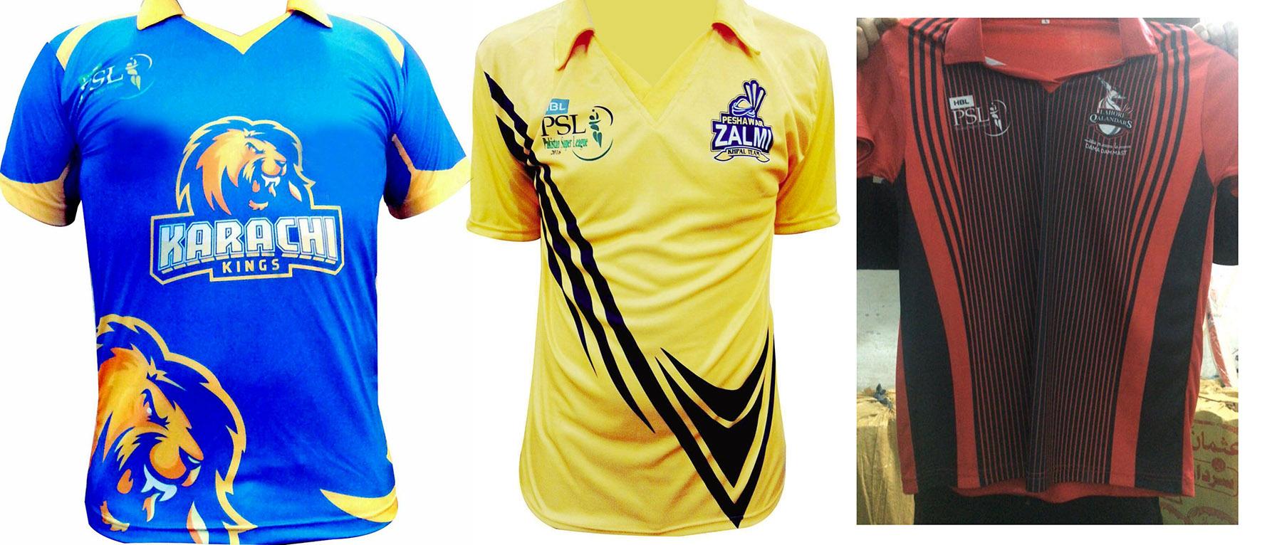 Pakistan Super League PSL T20 T-Shirts replica T-Shirt Karachi Kings Peshawar Zalmi Islamabad United Lahore Qalandars Quetta Gladiators